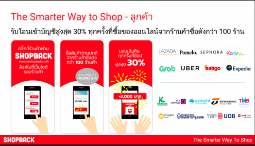 ShopBack Thailand คืนเงิน (cashback) ทุกครั้งเมื่อช้อปปิ้งออนไลน์